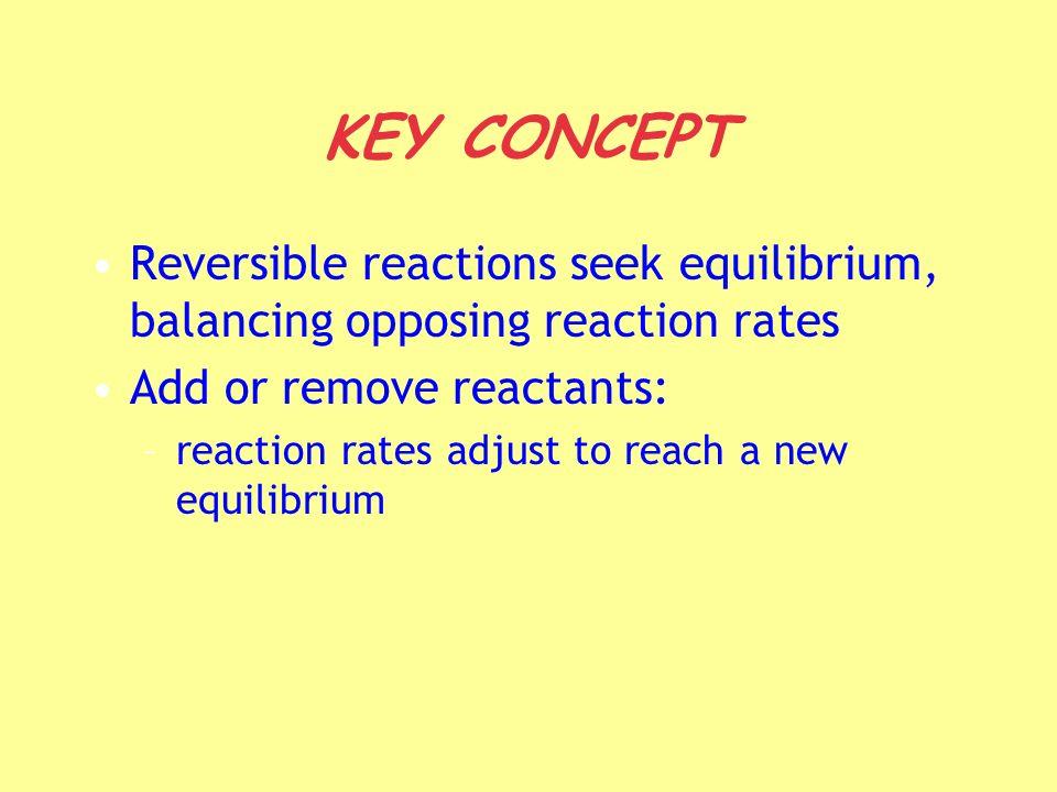 KEY CONCEPT Reversible reactions seek equilibrium, balancing opposing reaction rates Add or remove reactants: –reaction rates adjust to reach a new eq