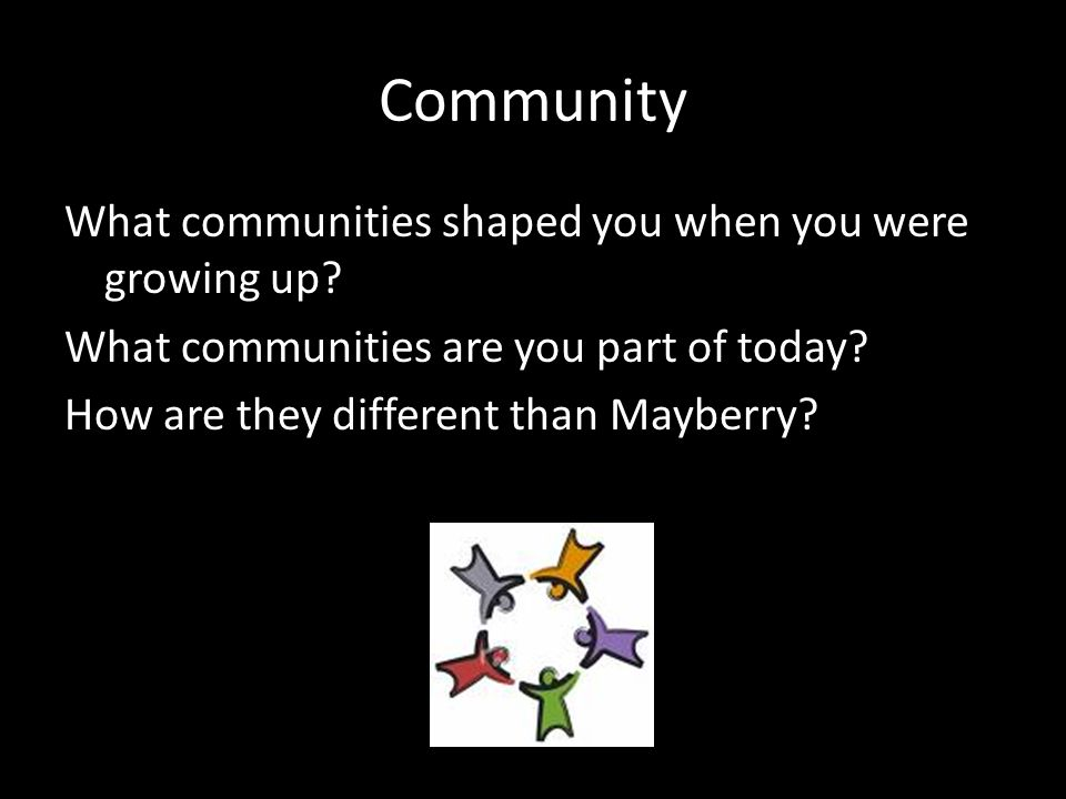 Community What communities shaped you when you were growing up? What communities are you part of today? How are they different than Mayberry?