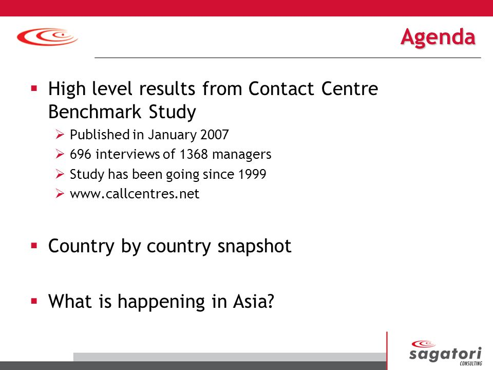 Agenda High level results from Contact Centre Benchmark Study Published in January 2007 696 interviews of 1368 managers Study has been going since 1999 www.callcentres.net Country by country snapshot What is happening in Asia