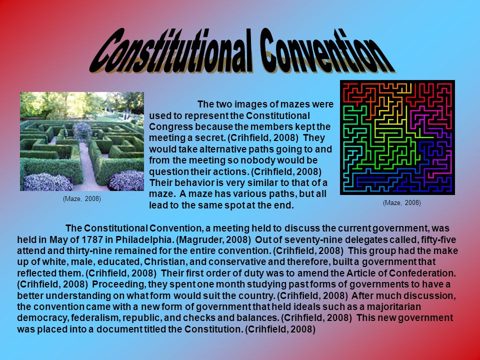 (Maze, 2008) The two images of mazes were used to represent the Constitutional Congress because the members kept the meeting a secret. (Crihfield, 200