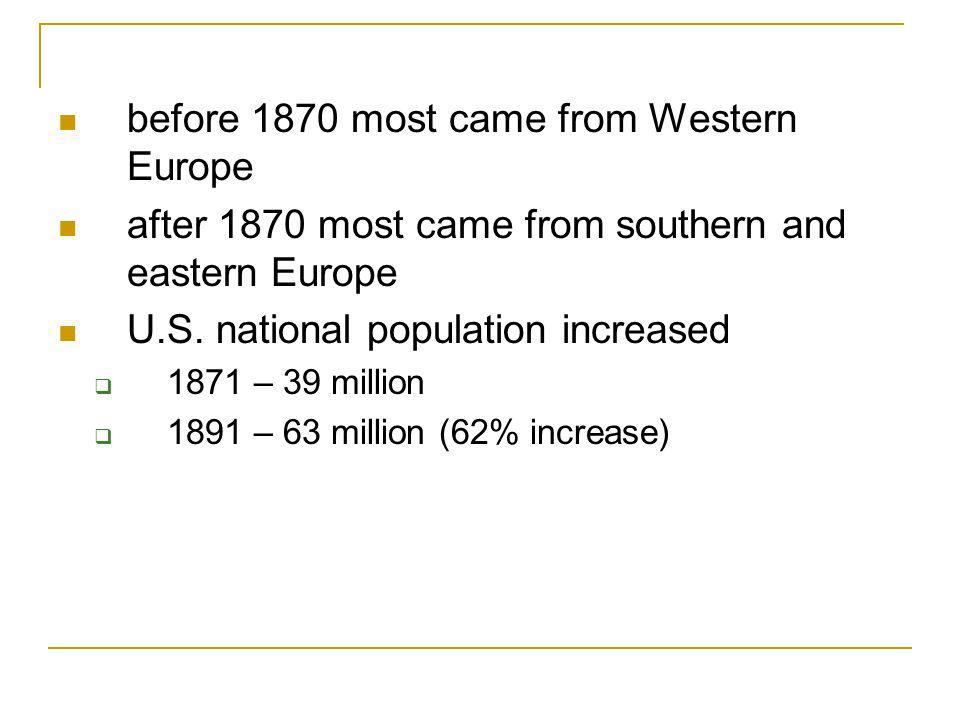 Immigration 19th century wave of immigrants from Europe and Asia rapid economic growth occupation of frontier regions urbanization