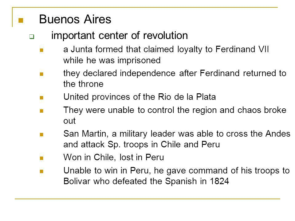 Spain, 1820 Ferdinand VII is returned to the throne forced to sign a constitution that limits his powers Bolivars Army liberates Venezuela, Columbia, Ecuador, Peru and Bolivia (named for Bolivar)
