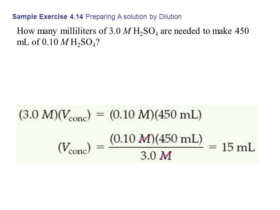 Sample Exercise 4.14 Preparing A solution by Dilution How many milliliters of 3.0 M H 2 SO 4 are needed to make 450 mL of 0.10 M H 2 SO 4 ?