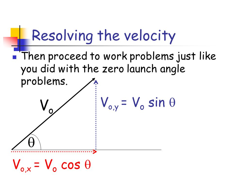 Resolving the velocity Then proceed to work problems just like you did with the zero launch angle problems. VoVo V o,y = V o sin V o,x = V o cos
