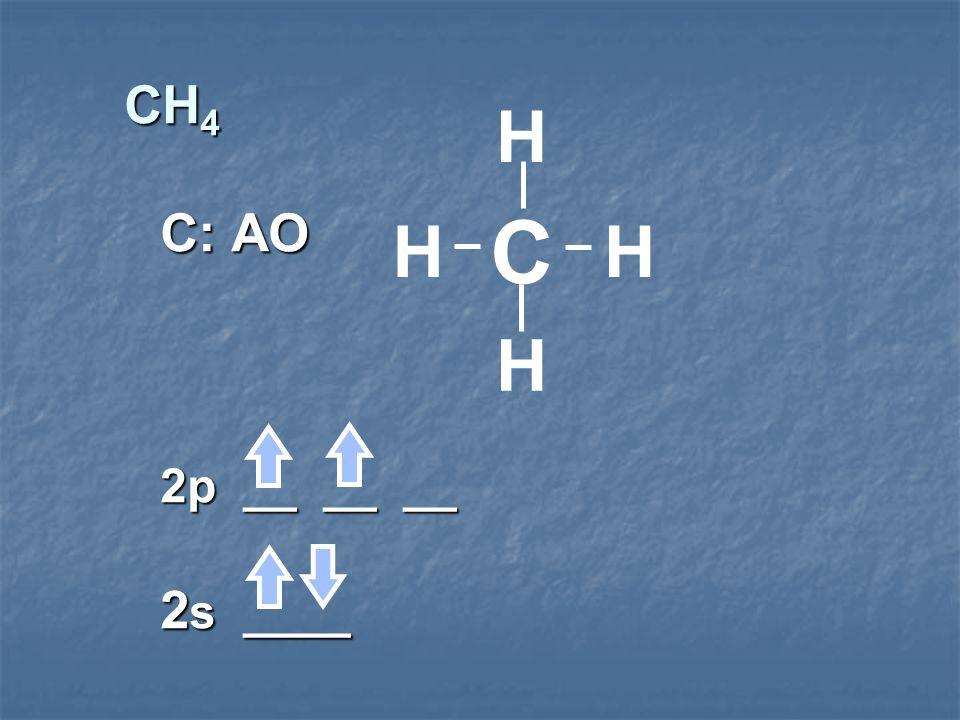 CH 4 C: AO 2p __ __ __ 2 s ____ C H H HH