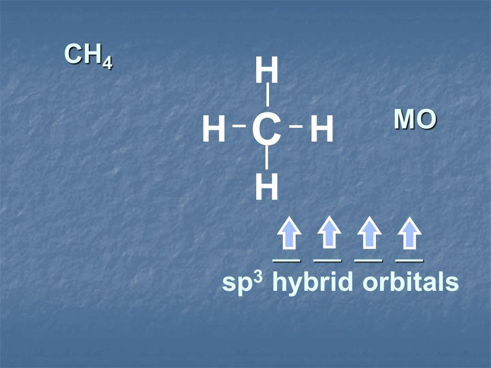 CH 4 MO __ __ __ __ C H H HH sp 3 hybrid orbitals