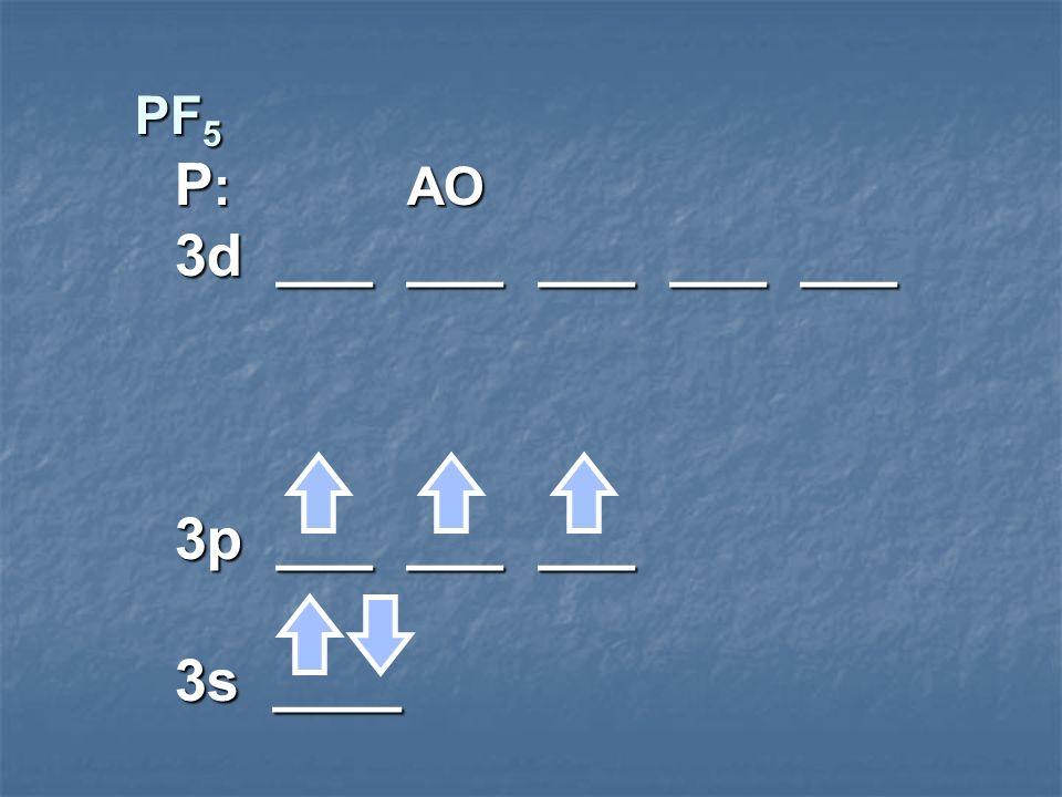 PF 5 P : AO 3d ___ ___ ___ ___ ___ 3p ___ ___ ___ 3s ____