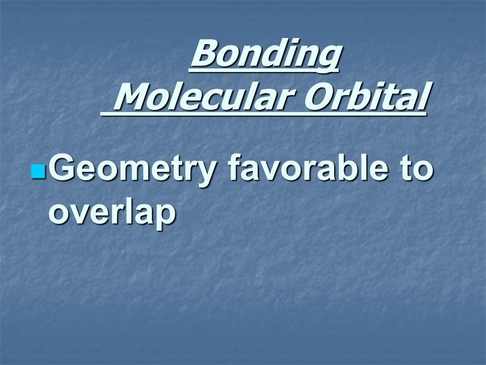 Bonding Molecular Orbital Geometry favorable to overlap Geometry favorable to overlap