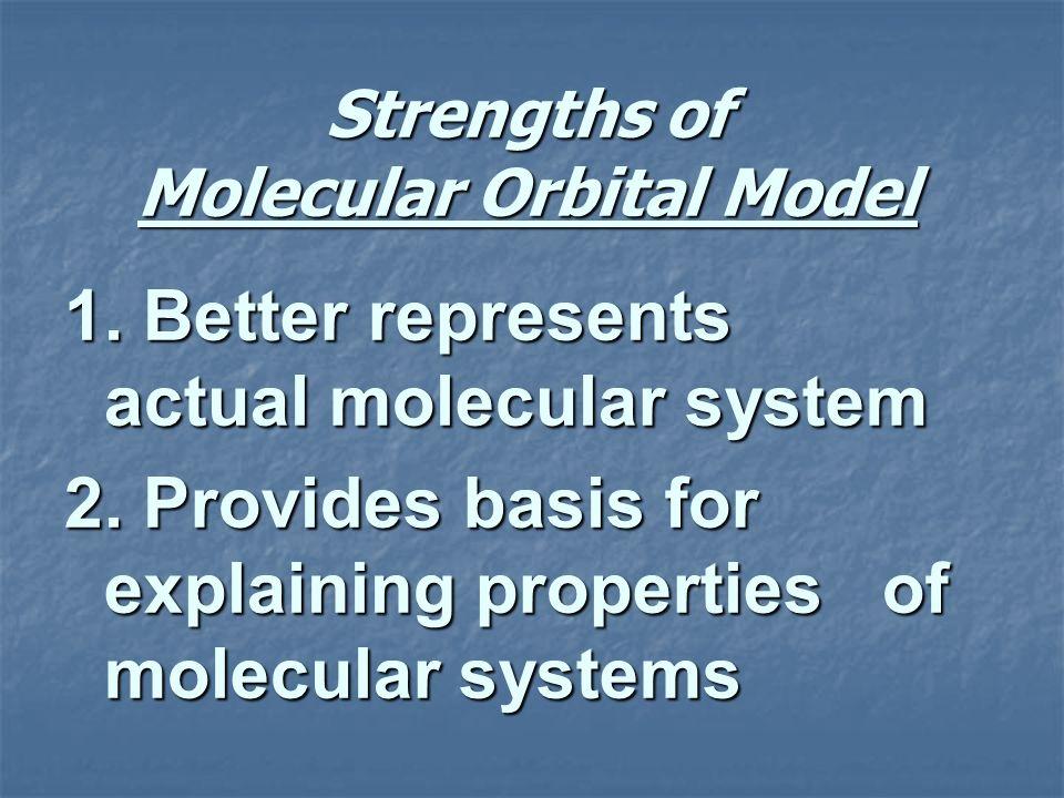 Strengths of Molecular Orbital Model 1. Better represents actual molecular system 2. Provides basis for explaining properties of molecular systems