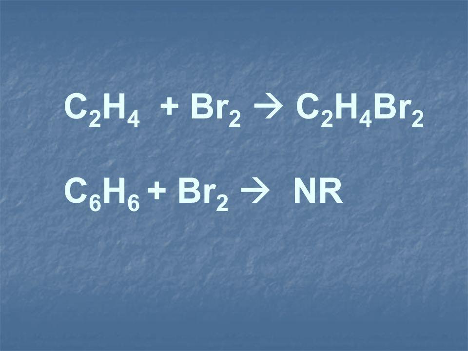 C 2 H 4 + Br 2 C 2 H 4 Br 2 C 6 H 6 + Br 2 NR