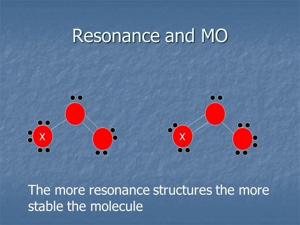 Resonance and MO XX The more resonance structures the more stable the molecule