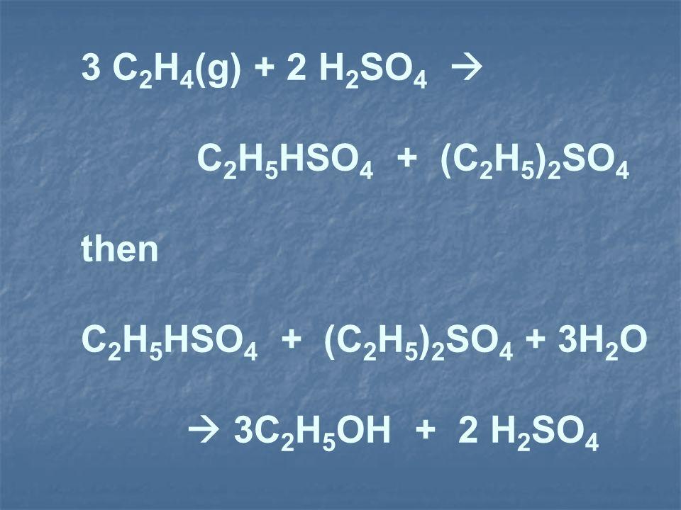 3 C 2 H 4 (g) + 2 H 2 SO 4 C 2 H 5 HSO 4 + (C 2 H 5 ) 2 SO 4 then C 2 H 5 HSO 4 + (C 2 H 5 ) 2 SO 4 + 3H 2 O 3C 2 H 5 OH + 2 H 2 SO 4