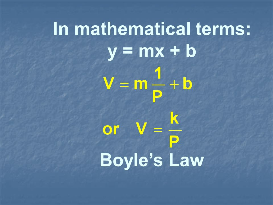 In mathematical terms: y = mx + b Boyles Law