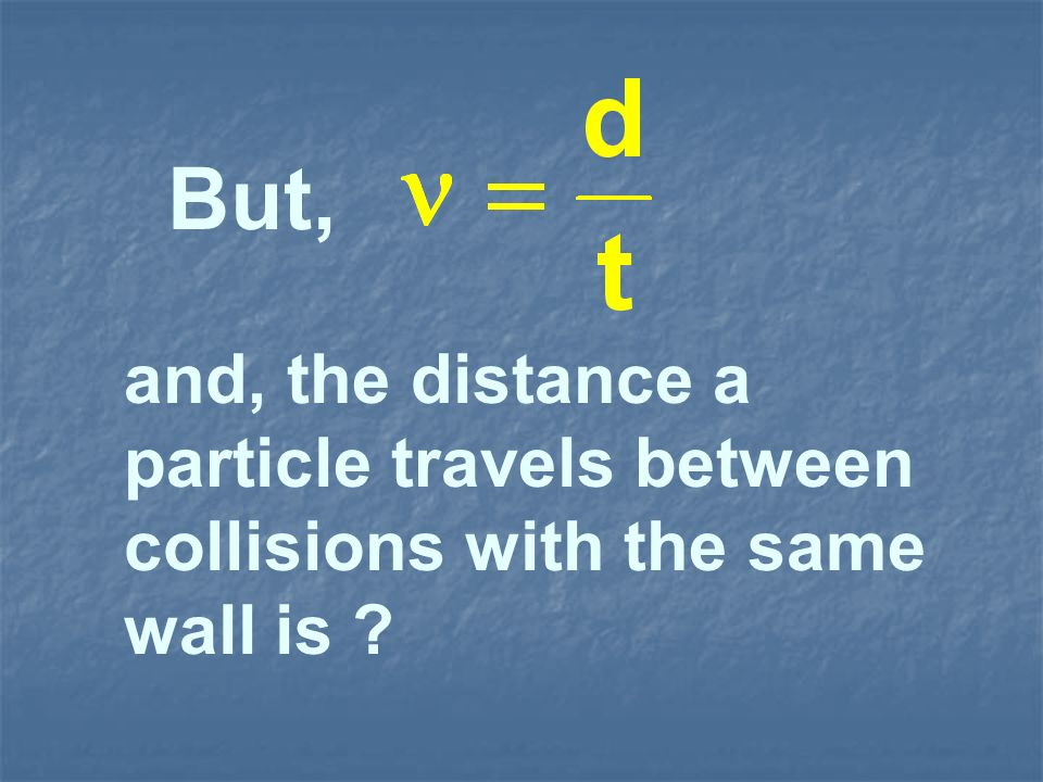and, the distance a particle travels between collisions with the same wall is ?
