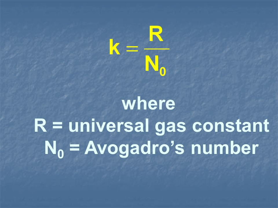 where R = universal gas constant N 0 = Avogadros number