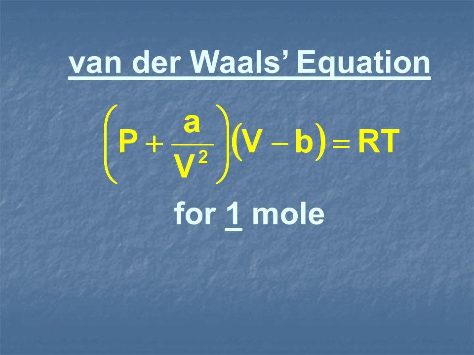 van der Waals Equation for 1 mole