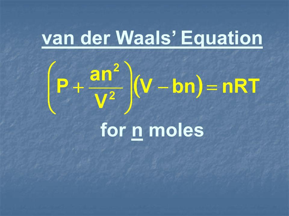 van der Waals Equation for n moles