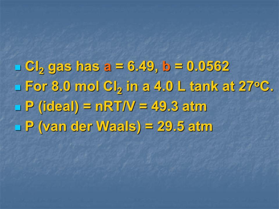 Cl 2 gas has a = 6.49, b = 0.0562 Cl 2 gas has a = 6.49, b = 0.0562 For 8.0 mol Cl 2 in a 4.0 L tank at 27 o C. For 8.0 mol Cl 2 in a 4.0 L tank at 27