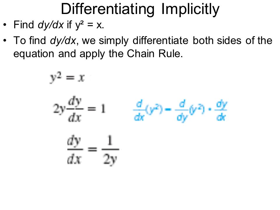 Differentiating Implicitly Find dy/dx if y² = x. To find dy/dx, we simply differentiate both sides of the equation and apply the Chain Rule.