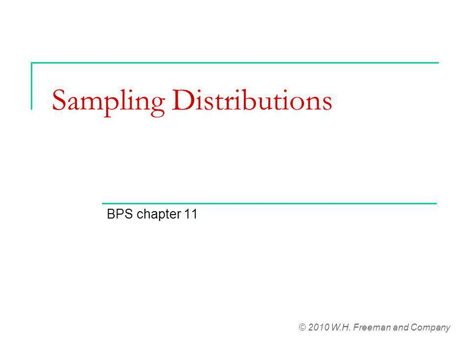 Sampling Distributions BPS chapter 11 © 2010 W.H. Freeman and Company