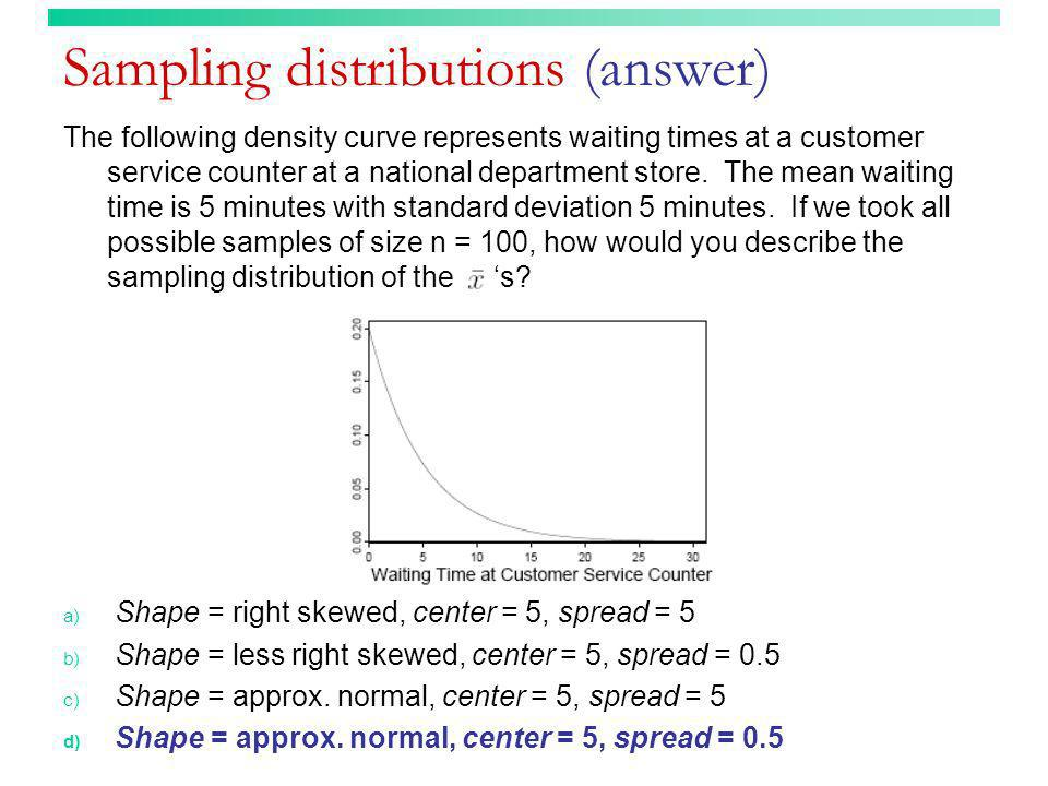 Sampling distributions (answer) The following density curve represents waiting times at a customer service counter at a national department store. The