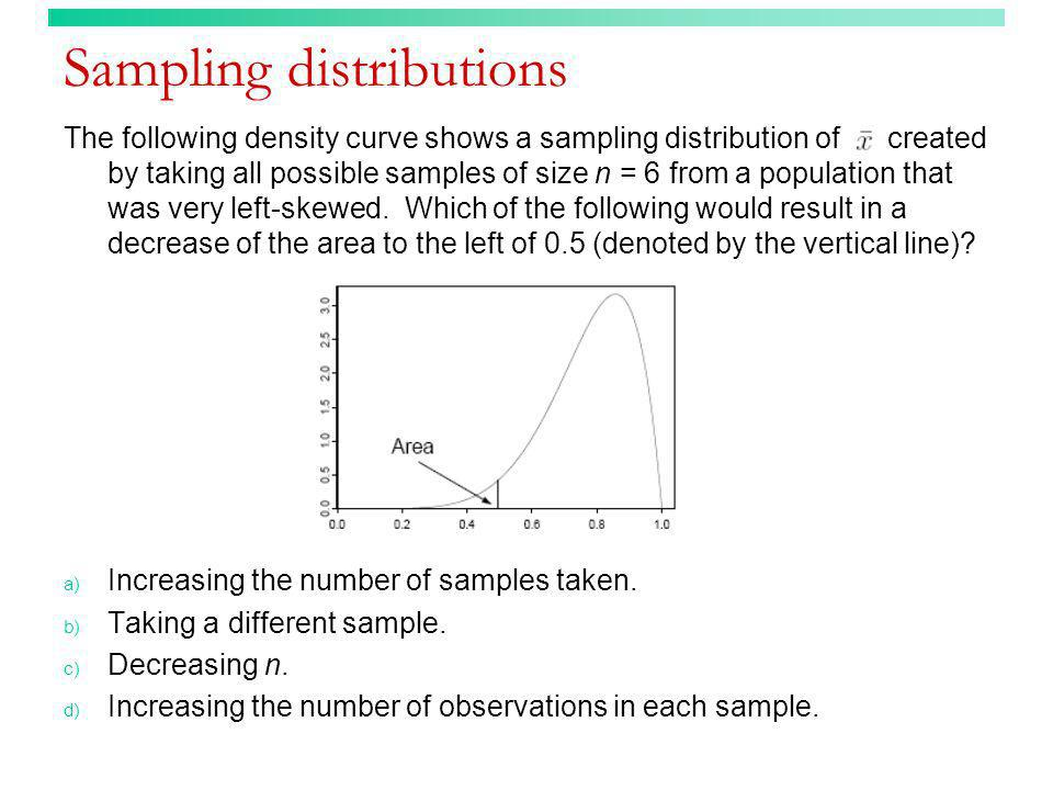 Sampling distributions The following density curve shows a sampling distribution of created by taking all possible samples of size n = 6 from a popula