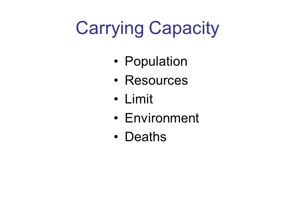 Carrying Capacity Population Resources Limit Environment Deaths