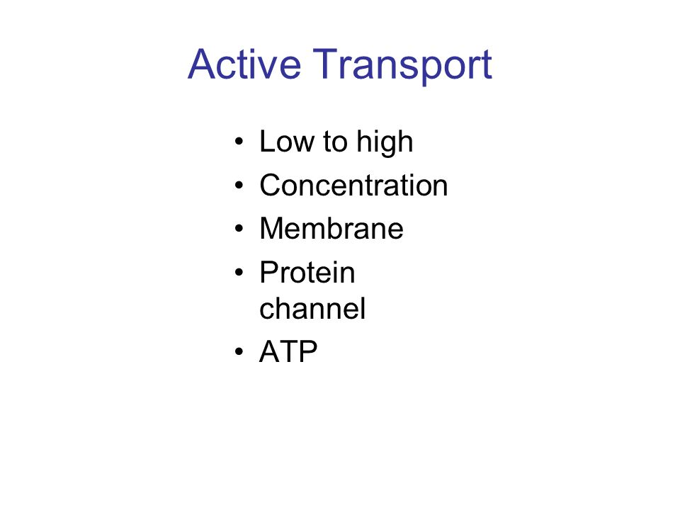 Active Transport Low to high Concentration Membrane Protein channel ATP