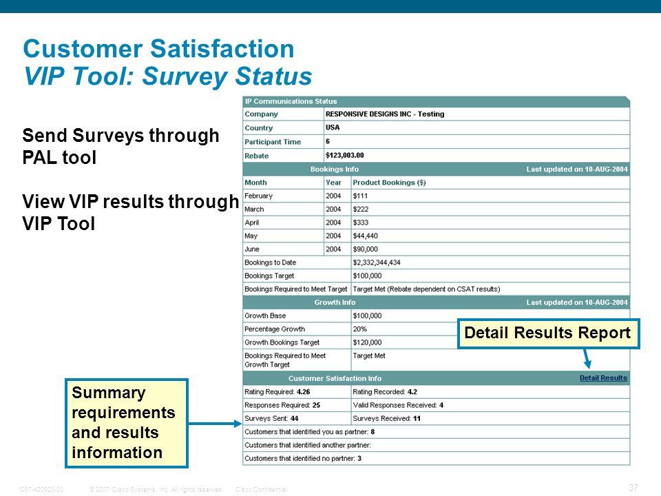 © 2007 Cisco Systems, Inc. All rights reserved.Cisco ConfidentialC97-420923-00 37 Customer Satisfaction VIP Tool: Survey Status Send Surveys through P