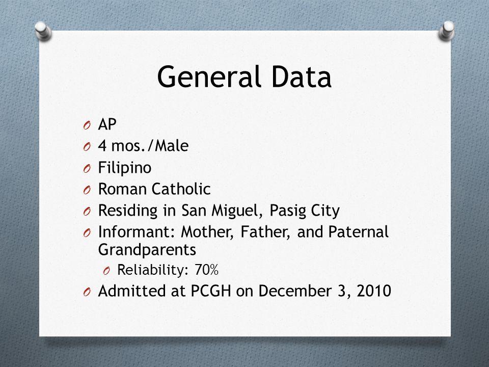 General Data O AP O 4 mos./Male O Filipino O Roman Catholic O Residing in San Miguel, Pasig City O Informant: Mother, Father, and Paternal Grandparent
