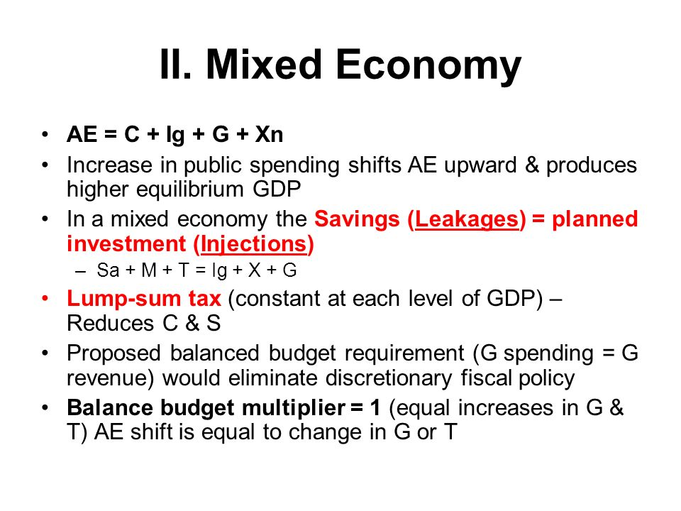 I. AE Model / Keynesian Cross Model Aggregate Expenditures means total spending When AE fall – Total output & employment decrease When AE rise – Total