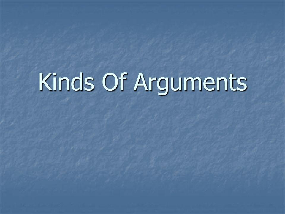 Types of Argument Definition Definition Causation Causation Ethics Ethics Evaluation Evaluation Proposal Proposal