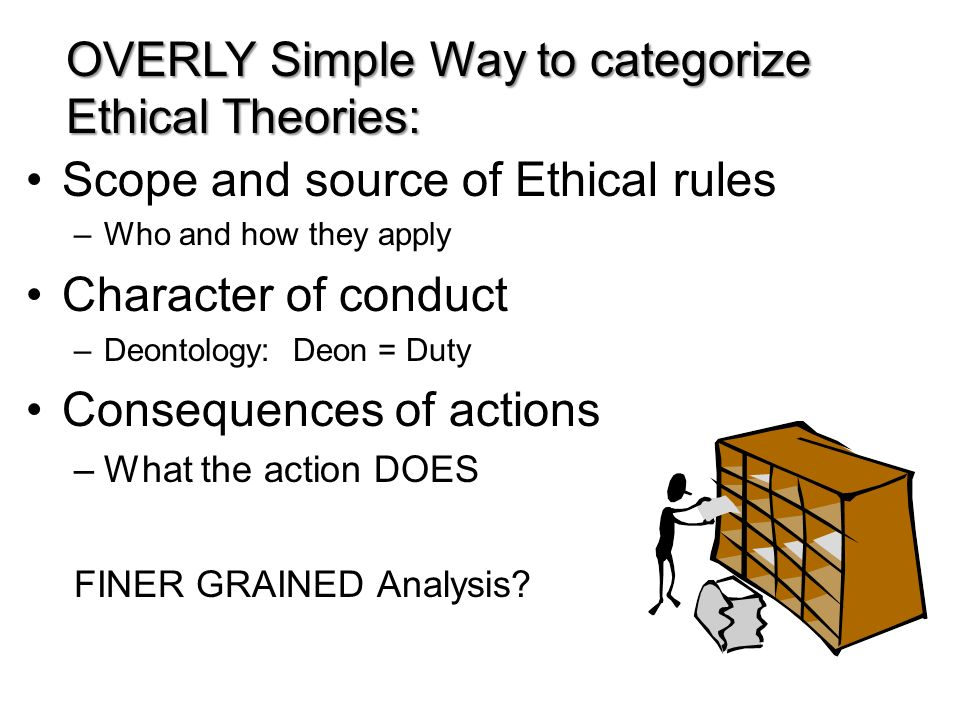 Scope and source of Ethical rules –Who and how they apply Character of conduct –Deontology: Deon = Duty Consequences of actions –What the action DOES