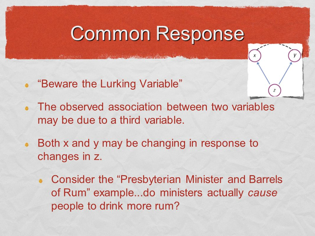 Common Response Beware the Lurking Variable The observed association between two variables may be due to a third variable.