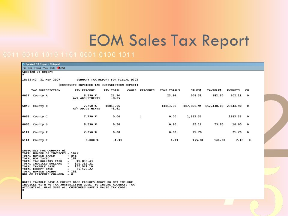 EOM Sales Tax Report