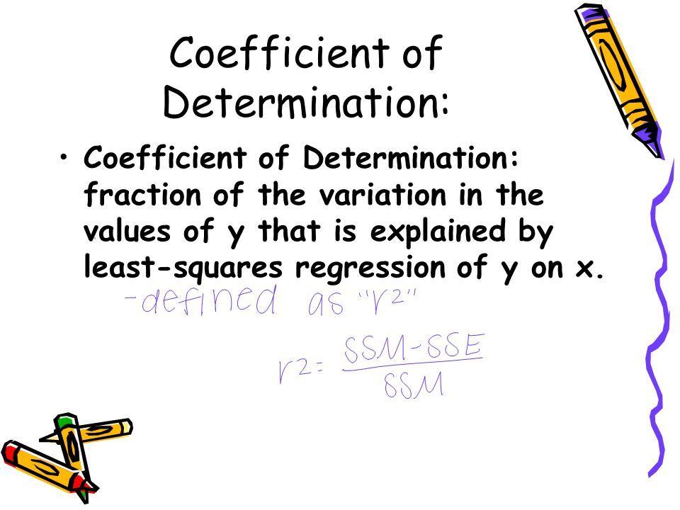 Coefficient of Determination: Coefficient of Determination: fraction of the variation in the values of y that is explained by least-squares regression of y on x.