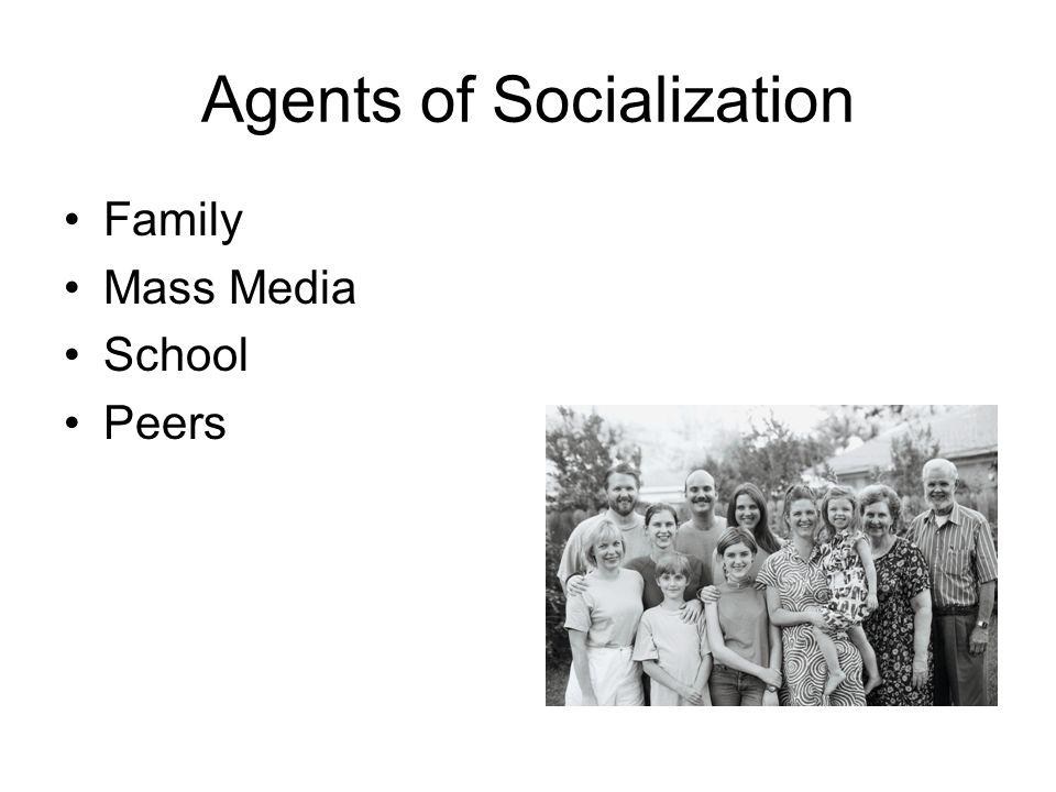 Agents of Socialization Family Mass Media School Peers