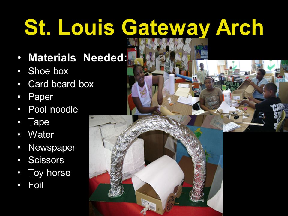 St. Louis Gateway Arch Materials Needed: Shoe box Card board box Paper Pool noodle Tape Water Newspaper Scissors Toy horse Foil
