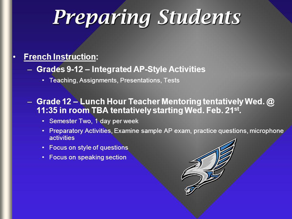 Preparing Students French Instruction: –Grades 9-12 – Integrated AP-Style Activities Teaching, Assignments, Presentations, Tests –Grade 12 – Lunch Hour Teacher Mentoring tentatively Wed.
