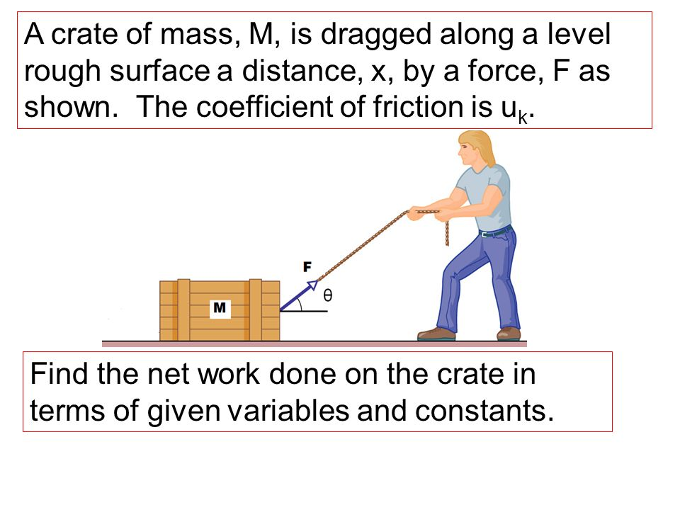A crate of mass, M, is dragged along a level rough surface a distance, x, by a force, F as shown. The coefficient of friction is u k. Find the net wor