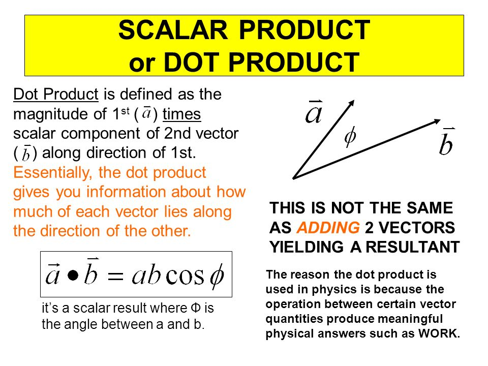 SCALAR PRODUCT or DOT PRODUCT Dot Product is defined as the magnitude of 1 st ( ) times scalar component of 2nd vector ( ) along direction of 1st. Ess