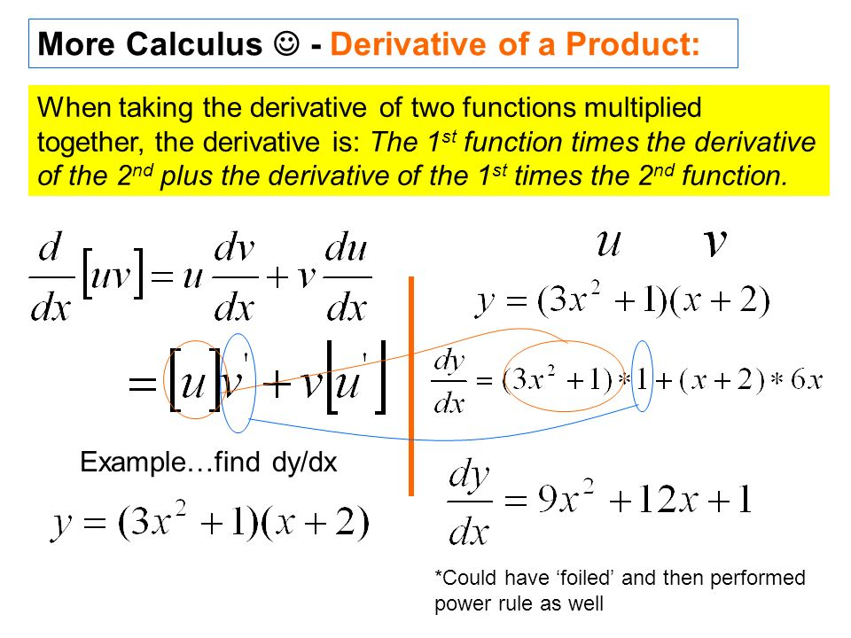More Calculus - Derivative of a Product: When taking the derivative of two functions multiplied together, the derivative is: The 1 st function times t