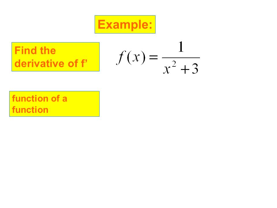 Example: Find the derivative of f function of a function