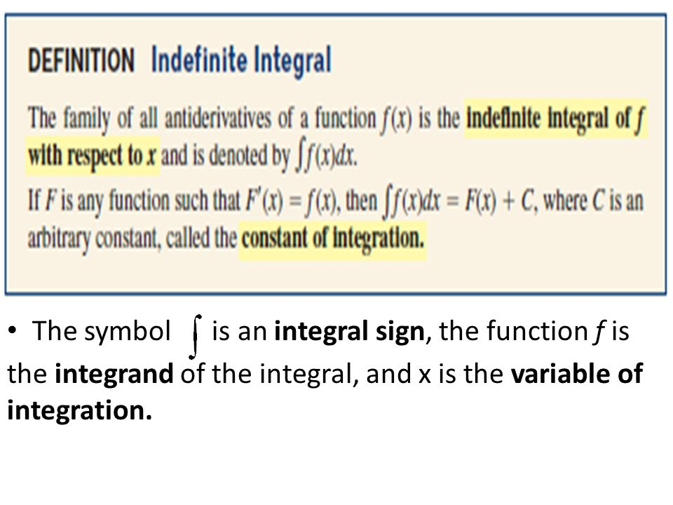 The symbol is an integral sign, the function f is the integrand of the integral, and x is the variable of integration.