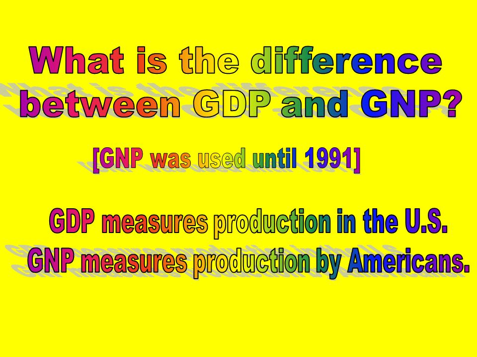 Gross Domestic Product – market value of all final legal output produced in a country in one year. Gross Domestic Product – market value of all final