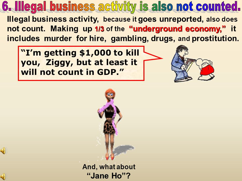 legal Unreported legal business activity does not count. two-thirdsunderground economy. This is two-thirds of the underground economy. Then he has LAS