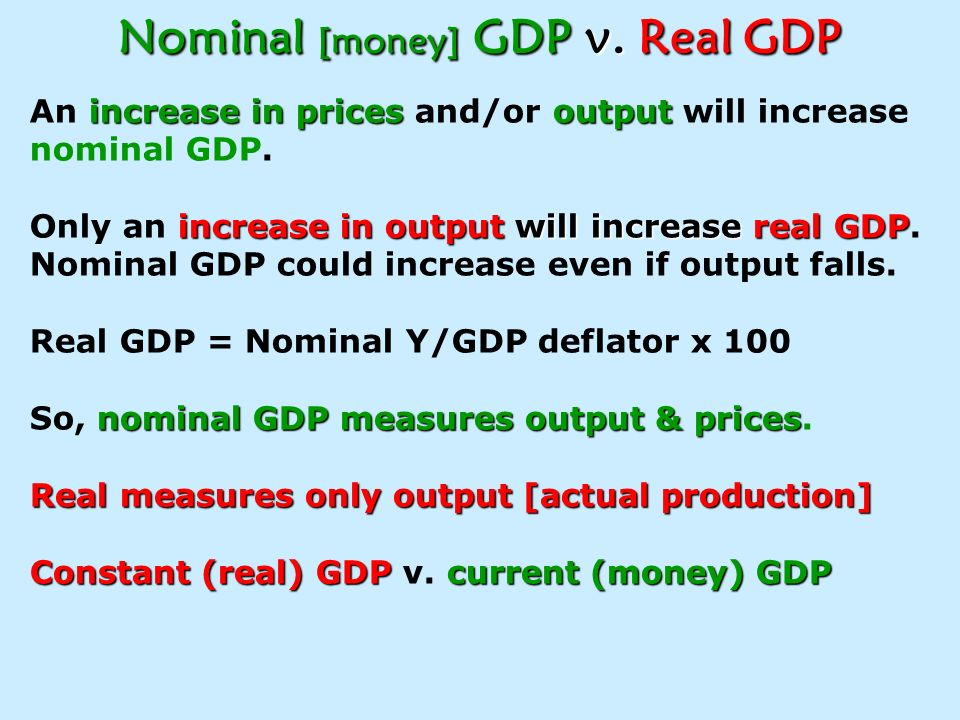 Importance of Real GDP in Determining a Recession Apple GDP Example A country produces 10 apples in base year x $1; Nominal and Real GDP both = $10 Ye