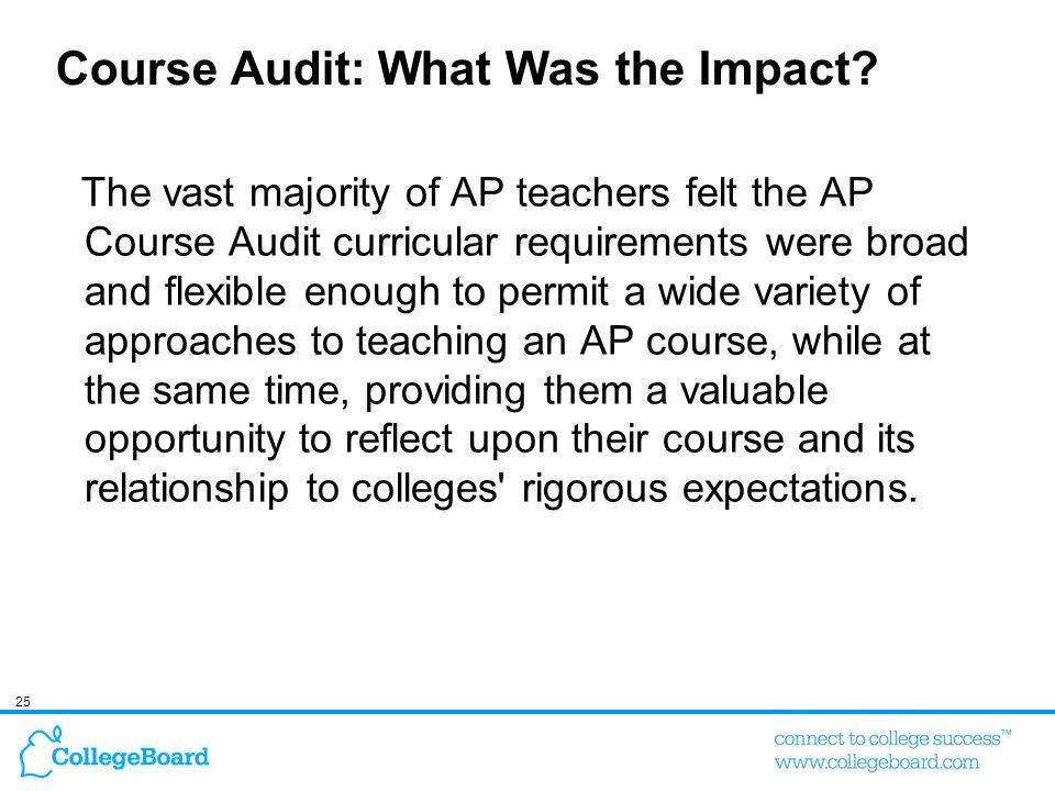 25 Course Audit: What Was the Impact? The vast majority of AP teachers felt the AP Course Audit curricular requirements were broad and flexible enough