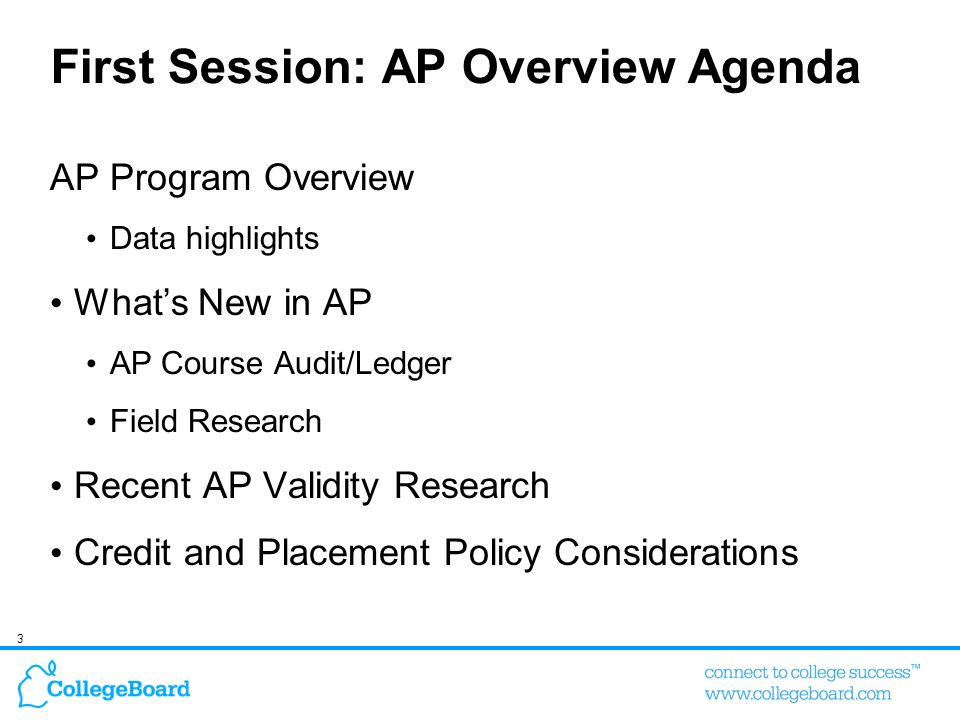 64 Anecdotal information should not be a basis for evaluating/changing institutional AP credit and placement policies Ensure campus-based research is used Utilize College Boards free placement study service – ACES (Admitted Class Evaluation Service) Before changing any campus AP policies, thoroughly understand how any change could potentially impact student enrollment behavior Are your key overlap institutions providing more AP credit or better placement opportunities for students.