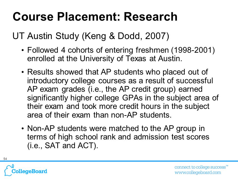 54 Course Placement: Research UT Austin Study (Keng & Dodd, 2007) Followed 4 cohorts of entering freshmen (1998-2001) enrolled at the University of Te